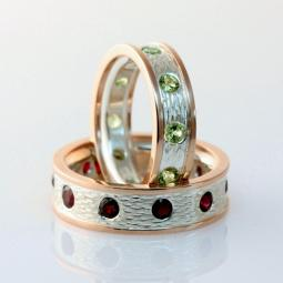 Garnet  Peridot Wedding Rings